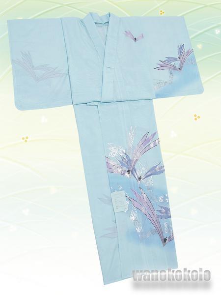 【和の志】夏の洗える着物◇絽・付下◇水色系・松葉◇KRT-54_画像3