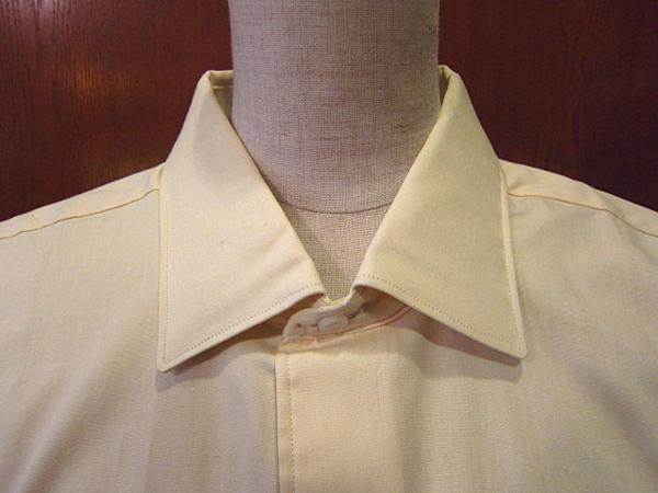 ビンテージ50's★DEAD STOCK Riggsフレンチカフドレスシャツ黄17★デッドストック40s60sイエロー薄黄_画像3