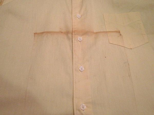ビンテージ50's★DEAD STOCK Riggsフレンチカフドレスシャツ黄17★デッドストック40s60sイエロー薄黄_フロントの汚れ