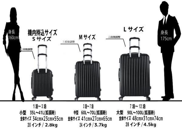 新●M中型ABS W拡張ファスナーTSAロックスーツケース シルバー M_画像6