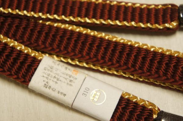 新品特選『渡敬』紅檜皮色金糸入平組盛装用帯締[E10247]_特選『渡敬』紅檜皮色金糸入平組盛装用帯締