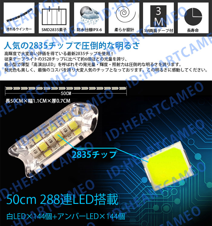 強力発光/やわらか設計★流れる LED ウインカー/デイライト LEDテープアイライン 正面発光 ホワイト/ブルー 2本セット_画像2