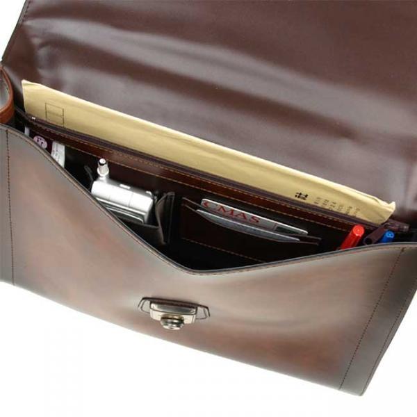 V243】 送料無料!日本製 ブリーフケース ビジネスバッグ ショルダーバッグ 書類鞄 PVCレザーバッグ クラッチバッグ36cm A4Fサイズ/チョコ_画像3