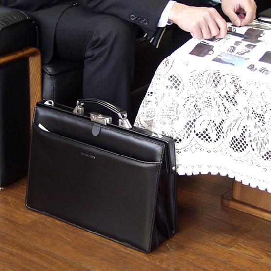V219】 送料無料!日本製 ダレスバッグ ビジネスバッグ ブリーフケース 軽量フェイクレザーバッグ 書類鞄 B4Fサイズ 42cm / 黒