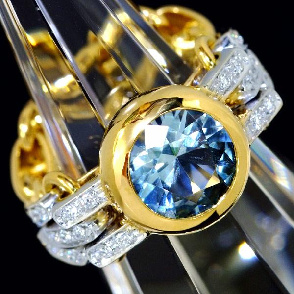D7205【pomellato】Pomellato blue Topaz genuine diamond 18K*RI