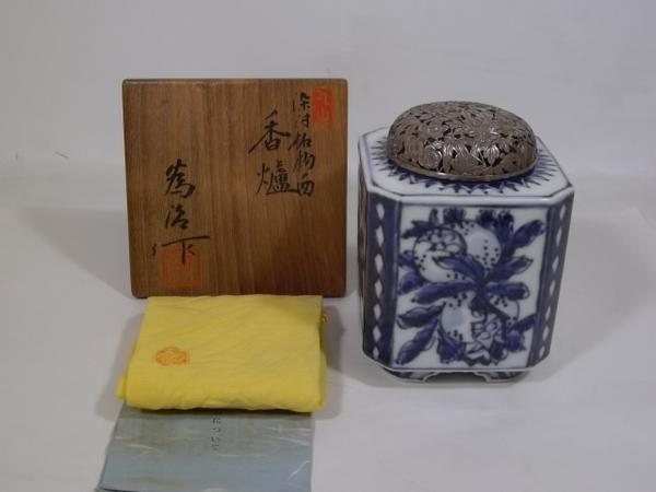 ■岡本為治作 染付柘榴の図 香炉 純銀火屋 41g B590
