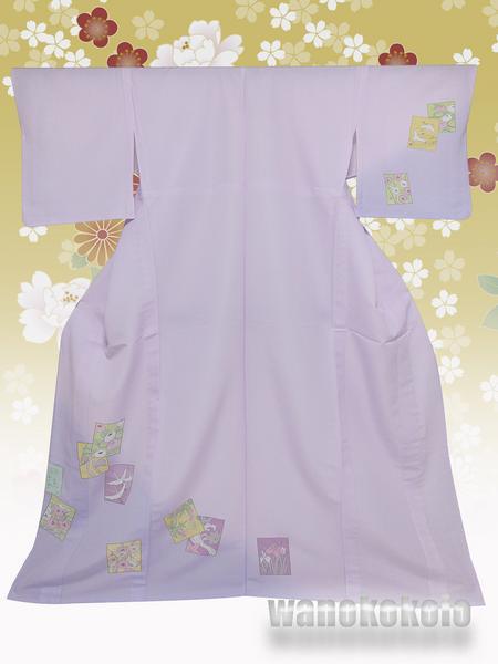 【和の志】洗える着物◇付下・単衣○L◇ラベンダー系・色紙◇231_画像1