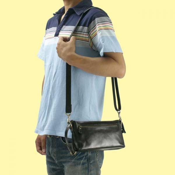 V442】送料無料!日本製 ショルダーバッグ 24cm 牛本革ヌメ革 レザーバッグ セカンドバッグ セカンドポーチ / チョコ