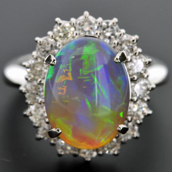 【BSJJ】Pt900 ブラックオパール4.01ct ダイヤモンド1.03ct リング プラチナ 中央宝石研究所 本物_画像2