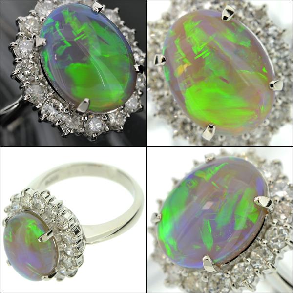 【BSJJ】Pt900 ブラックオパール4.01ct ダイヤモンド1.03ct リング プラチナ 中央宝石研究所 本物_画像3