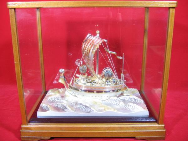 ■骨董屋 銀製 寶船 寶船 銀船 縁起物 408g c438