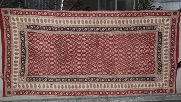 インド 木綿に更紗 カシミア地方 花とペイズリー模様 19世紀中頃_画像1