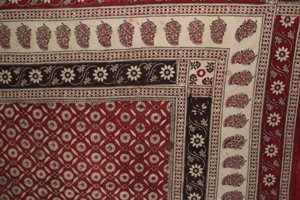 インド 木綿に更紗 カシミア地方 花とペイズリー模様 19世紀中頃_画像2