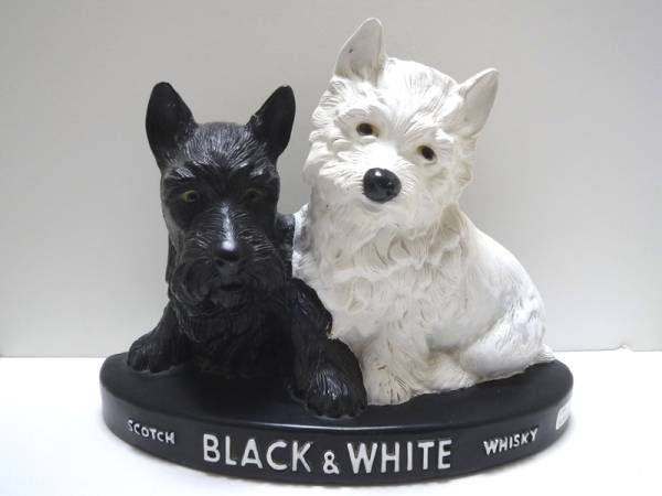 BLACK&WHITEディスプレイ白黒テリア 犬 スコッチ ウイスキーバー