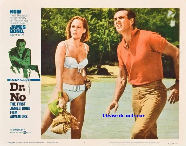 1962年 第1作 007 ドクター・ノオ カラー ショーン コネリー ロビーカード 2枚付き