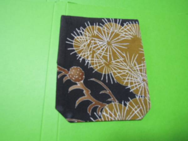 激安!黒と草緑色系松柄・絹地・名刺入れカードケース♪_現品に近い色です