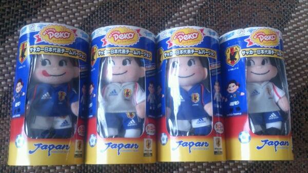 即決【W杯】ペコちゃんポコちゃんマスコット日本代表ホームアウェイ グッズの画像