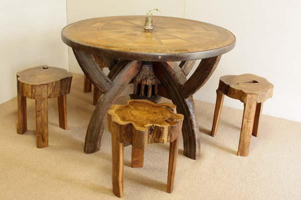『癒し』アンティーク*チーク古木自然杢*腰掛け椅子*玄関*椅子*いす*ベンチ*レトロ☆/切株椅子4脚(スツール4脚のみ販売です)_テーブルは売り切れました