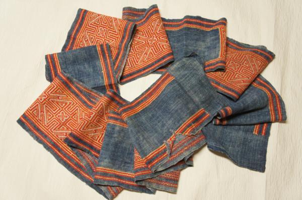 特選メオ族手織り大麻布木綿正絹手刺繍希小品E4922_メオ族手織り大麻布木綿正絹手刺繍