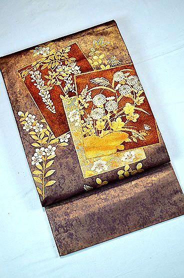 【極上】 美品 あずき色 金銀箔置きの粋な草花柄 袋帯 Tポイント2% T606_画像1