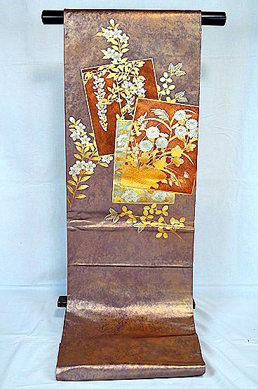 【極上】 美品 あずき色 金銀箔置きの粋な草花柄 袋帯 Tポイント2% T606_画像2