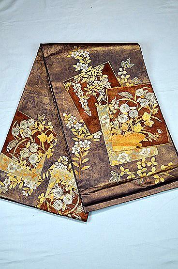 【極上】 美品 あずき色 金銀箔置きの粋な草花柄 袋帯 Tポイント2% T606_画像3