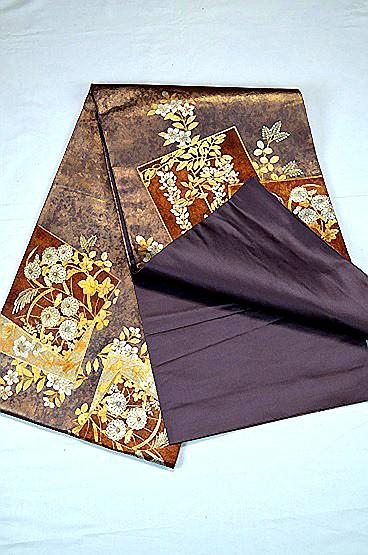【極上】 美品 あずき色 金銀箔置きの粋な草花柄 袋帯 Tポイント2% T606_画像4