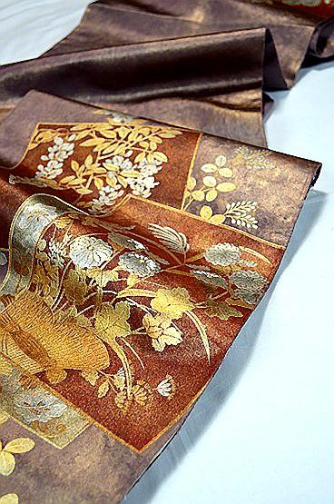 【極上】 美品 あずき色 金銀箔置きの粋な草花柄 袋帯 Tポイント2% T606_画像5