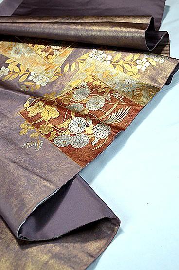 【極上】 美品 あずき色 金銀箔置きの粋な草花柄 袋帯 Tポイント2% T606_画像6
