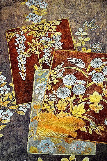 【極上】 美品 あずき色 金銀箔置きの粋な草花柄 袋帯 Tポイント2% T606_画像8