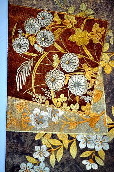 【極上】 美品 あずき色 金銀箔置きの粋な草花柄 袋帯 Tポイント2% T606_前の部分の柄