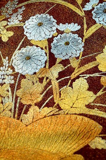 【極上】 美品 あずき色 金銀箔置きの粋な草花柄 袋帯 Tポイント2% T606_画像9