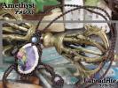 桃色薔薇とウサギの『アメジスト』マクラメ編みネックレス2