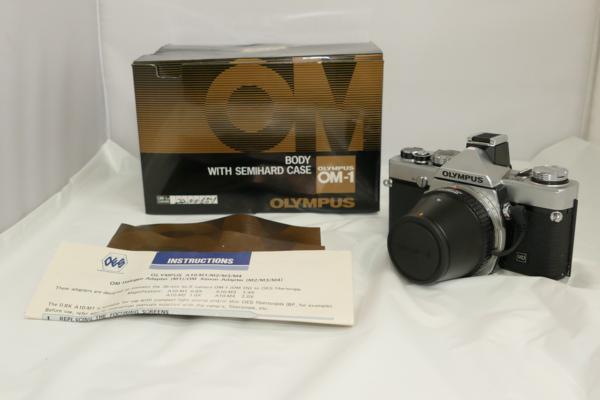 ☆ジャンク OLYMPUS オリンパス 一眼レフカメラ OM-1N レンズ A10-M2(1.0X)外観良好品☆