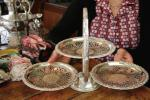 英国 50s QUEEN ANN 午後の紅茶に純銀P. SILVER PLATE アンティーク シルバー 三段開き アフタヌーンティー テーブル ケーキスタンド!!!