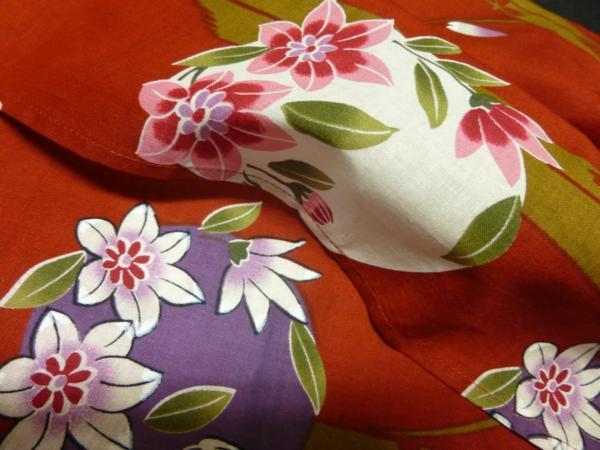 ☆伝統の浜松ゆかた トンボ 紅海老茶色 現品限り_この画像のお色目実物に近いです