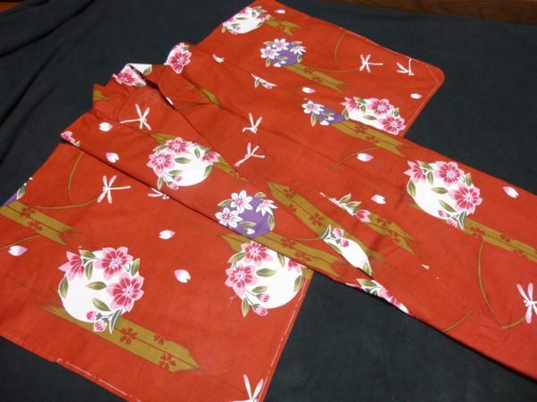 ☆伝統の浜松ゆかた トンボ 紅海老茶色 現品限り_落ち着いた紅色