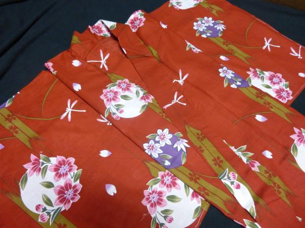 ☆伝統の浜松ゆかた トンボ 紅海老茶色 現品限り_伝統の浜松ゆかた