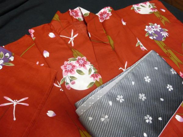 ☆伝統の浜松ゆかた トンボ 紅海老茶色 現品限り_帯をご希望の方は別途販売いたします