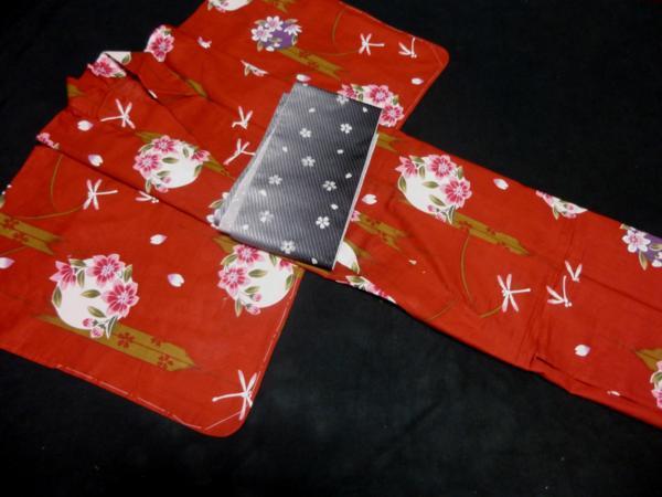 ☆伝統の浜松ゆかた トンボ 紅海老茶色 現品限り_帯は参考商品です