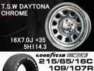 TSWデイトナクローム 16×5H 215/65 GOODYEARナスカータイヤset