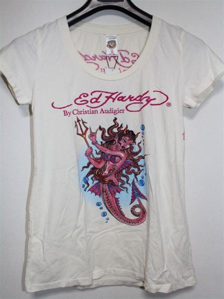 エドハーディー ED HARDY レディース半袖Tシャツ XSサイズ NO400 新品 デビルマーメイド_画像1