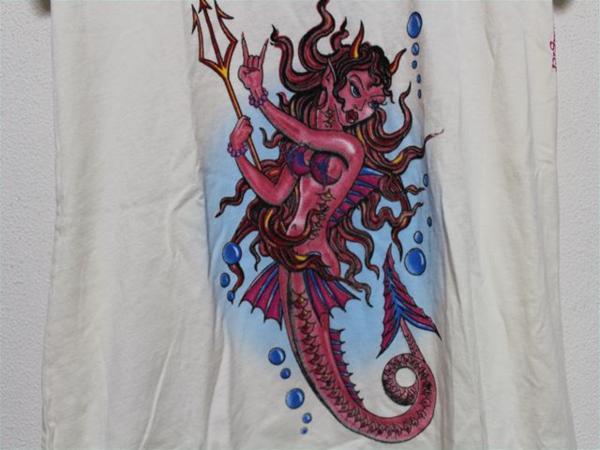 エドハーディー ED HARDY レディース半袖Tシャツ XSサイズ NO400 新品 デビルマーメイド_画像3