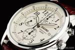 1円 セイコー SEIKO 海外 アイボリー ダイヤル 本革ベルト 1/20秒 クロノグラフ 腕時計