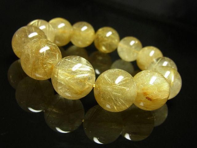 ゴールドタイチンルチルブレスレット 16ミリ数珠パワーストーン 最強金運天然石_画像3
