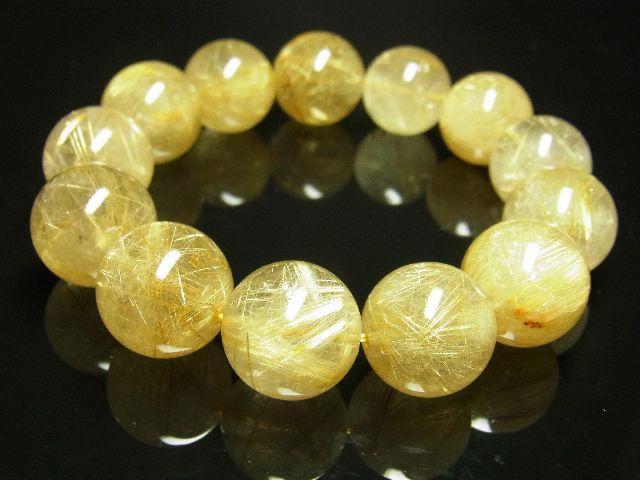 ゴールドタイチンルチルブレスレット 16ミリ数珠パワーストーン 最強金運天然石_画像4