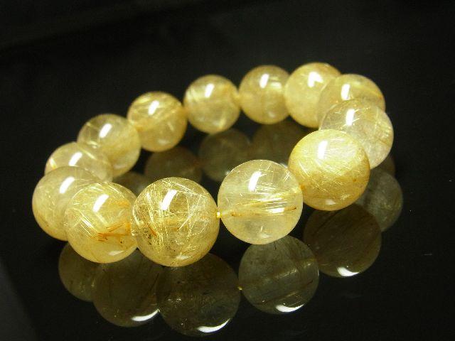 ゴールドタイチンルチルブレスレット 16ミリ数珠パワーストーン 最強金運天然石_画像6