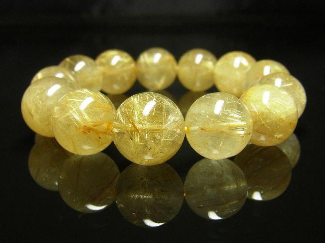 ゴールドタイチンルチルブレスレット 16ミリ数珠パワーストーン 最強金運天然石_画像1