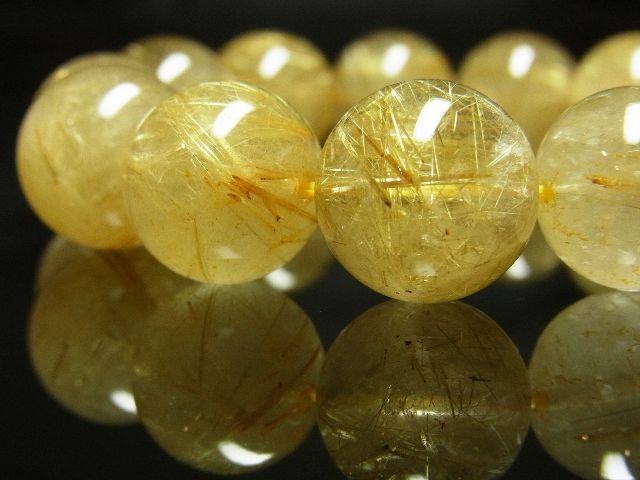 ゴールドタイチンルチルブレスレット 16ミリ数珠パワーストーン 最強金運天然石_画像2
