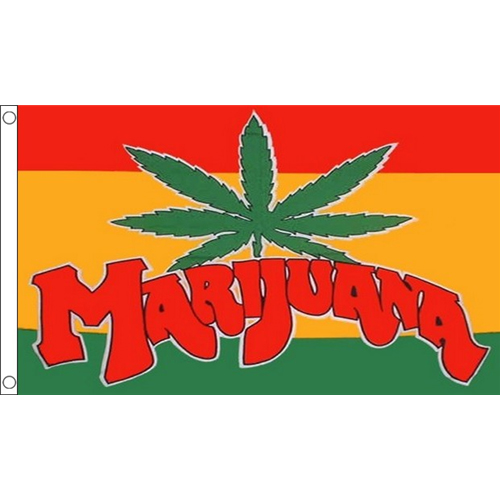 海外限定 マリファナ大麻ヘンプラスタカラー 貴重 大フラッグ